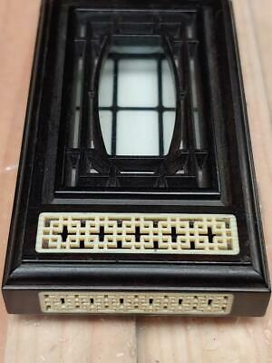 Intricate Carved Chinese Inlaid Hardwood Brick Form Cricket Cage Box