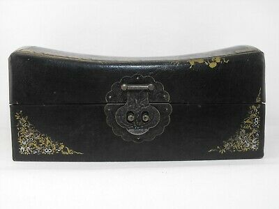 """Black Leather/Wood 12"""" Chinese Pillow Box Vintage"""