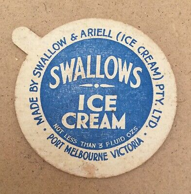 4 SWALLOWS Ice Cream LIDS Swallow & Ariell Melbourne Food Shop Display Ephemera