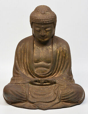 18th Century, Edo, Antique Japanese Metal Seated Buddha