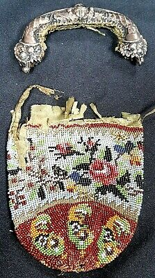 Antique Chainmail Silk Lined Bead Purse with White Metal Handle For Restoration