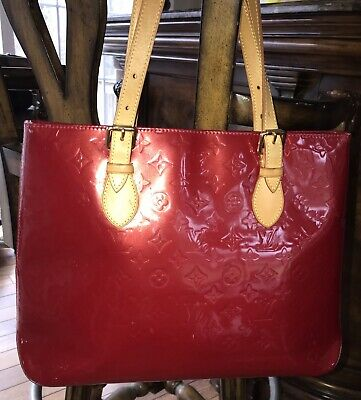 Authentic Louis Vuitton Large Red Vernis Brentwood Tote Bag ~ Pomme D'Amour