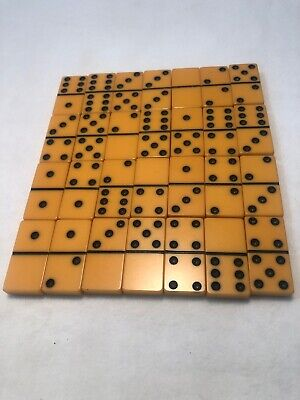 Full Set Of Vintage Butterscotch Bakelite Dominoes Pre-1950s 28 Pieces