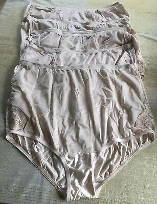 Lot Of 5 Vanity Fair Lace Insets XL 8 Nylon Granny Panties Briefs Pink Sissy