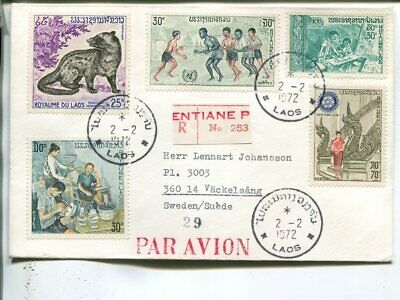 Laos reg air mail cover to Sweden 1972