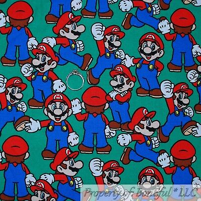 BonEful FABRIC Cotton Quilt Green Blue Red VTG Mario Brothers Game White M SCRAP