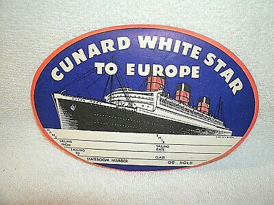 Vintage Original *CUNARD WHITE STAR TO EUROPE* Luggage Label-1930-40's-Unused