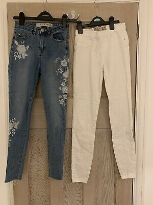2 X Girls Flower Embroided Jeans & White Jeggings - Size 6