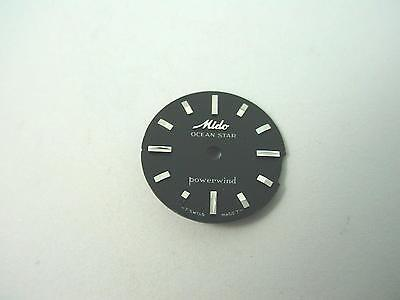 Ocean Star Powerwind Black Vintage 15.35mm Mido Watch Dial Silver Stick Markers