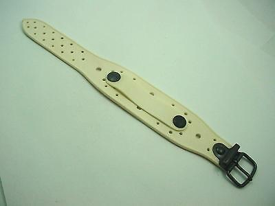 Mens Brevetto Sub Beat Vintage Watch Strap Cream Rubber Bronzed Tone Buckle NOS