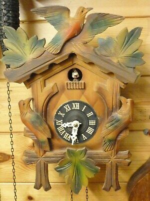 lovely 1950s wooden carved cuckoo clock spares repair stops /goes 30 hr movement