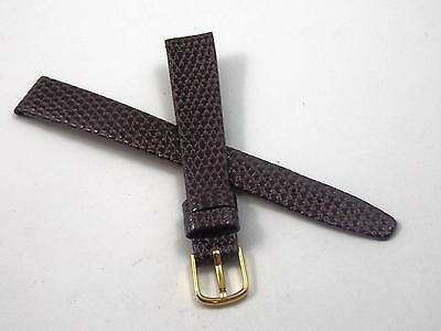 Vintage Ladies Watch Band Hadley Roma 12mm Brown Lizard Grain Gold Tone Buckle