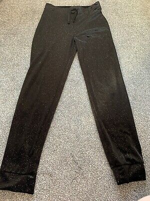 Girls Black Sparkle Tracksuit Pant Aged 15