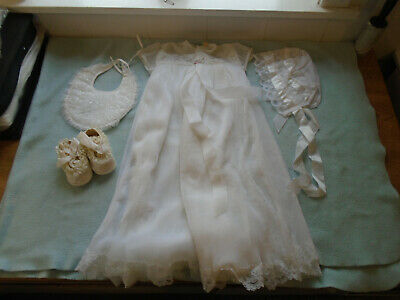 Vintage Baby Christening Dress With Hat And Shoes And Bib