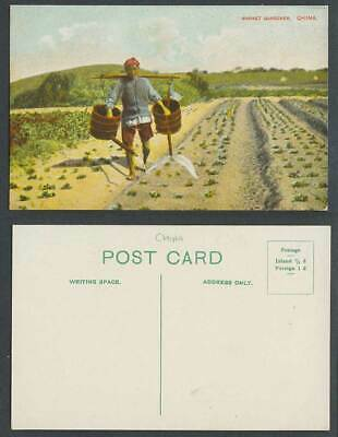 China Old Colour Postcard Market Gardener Native Chinese Farmer, 2 Water Buckets