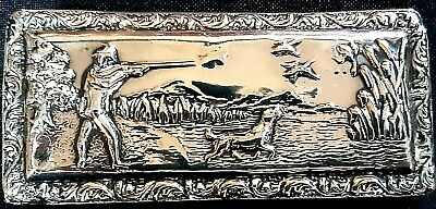 Lovely Antique Edwardian Shooting Themed Sterling Silver Snuff Box, Chester 1902