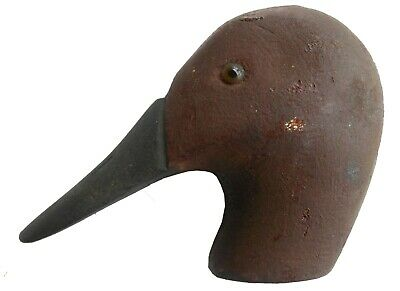 AAFA Early 1900s Antique Folk Art Hand Carved Wood Duck Decoy Head Canvasback