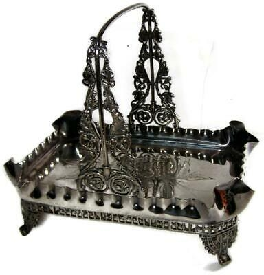 Antique Victorian Silver Plate Ornate Footed & Engraved Cake Basket L. Atkinson