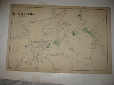 Vintage Antique 1873 Huntington Suffolk County New York Handcolored Map Superb