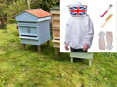 Full Beginners Kit Fully Built British National Bee Hive with Gabled Roof - NICE
