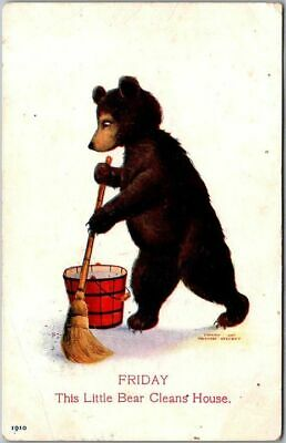 "Artist-Signed WALL Busy Bears Postcard ""FRIDAY Little Bear Cleans House"" c1910s"
