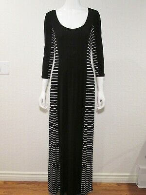 CALVIN KLEIN Long Stretch Jersey Maxi Dress 3/4 Sleeve Black White Stripe Size 6