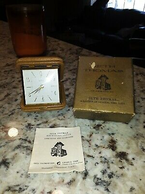 Vintage Working Seth Thomas #903 Tripmate Travel Wind-Up Alarm Clock & Case