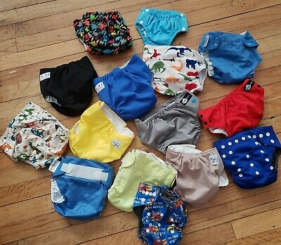 REUSABLE DIAPERS mixed BOYS LOT (15) Alva bum genius JACK jill baby city FUNKY