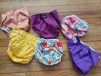 REUSABLE DIAPERS mixed GIRL LOT (6) prs Alva lullaby baby mermaid suns solids