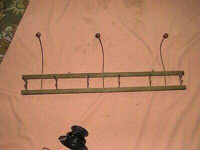 Antique Wall Mount Hat Coat Rack 6 Swivel Hooks 3 wire and ball hat hooks-32""