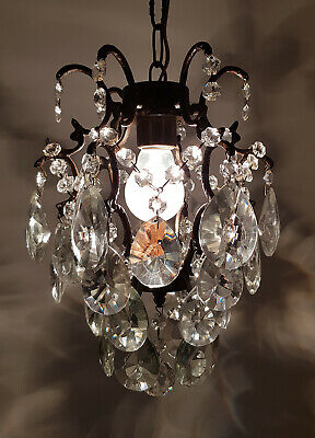 Antique Vintage Cage Style Brass & Crystals Small Chandelier Ceiling Lamp Light
