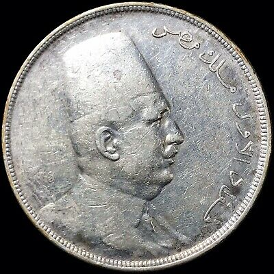 1923-H Egypt 20 Piastres KM #338 Fuad I Foreign Silver Coin Crown-Sized SCARCE