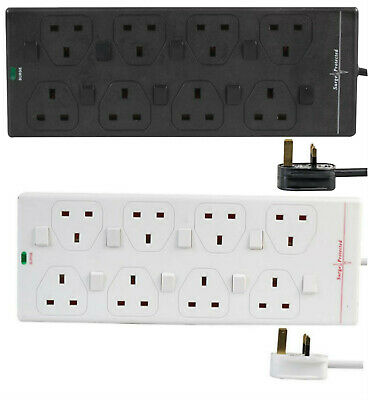 8 Way Mains Surge Protected Extension Lead Switch 1m 2m 5m 10m Gang Socket Power