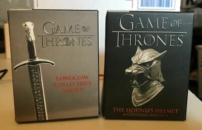"""GAME OF THRONES """"THE HOUNDS HELMET"""" 2016 & """"LONGCLAW"""" 2015 (Miniature Editions)"""
