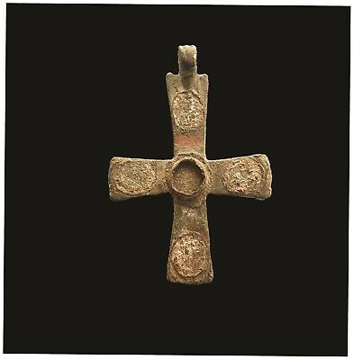 RARE Ancient Byzantine Bronze Christian Pendant Cross, 7-11th Cent. AD