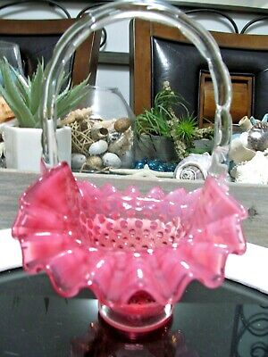 Fenton cranberry and  Opalescent hobnail basket with handle footed