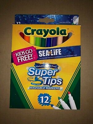 Crayola Supertips Bright Washable Lavable Markers Pack of 12 Felt Tips Pens NEW