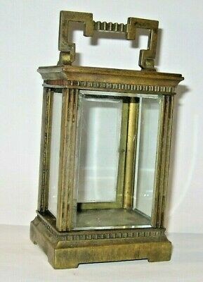 Antique French Lantern / Carriage Clock Brass Case Only + 5 Glass Panel