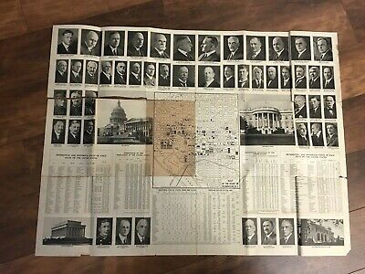 Antique 1920 Map of USA+ Washington DC + Photos of Political Figures & Stats