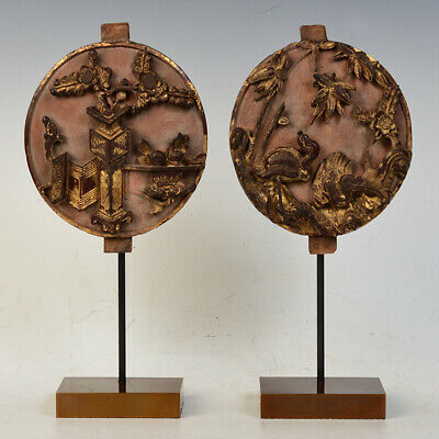 19th Century, Qing Dynasty, A Pair of Antique Chinese Wooden Decoration