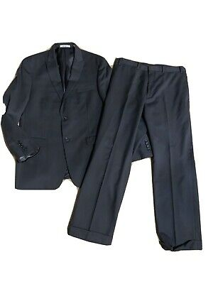 Dkny Mens Black Suit Jacket 42R 42 Pants 35R 35