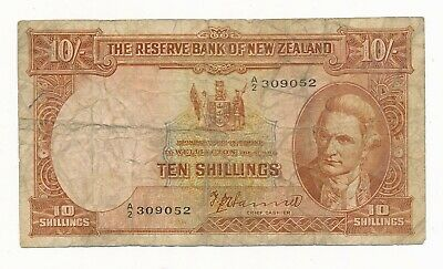 New Zealand 10 Shillings Hanna (1940-55) P. 158a