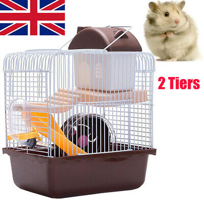 Brown Hamster Cage Gerbil Mouse Mice Small Pet Cages 2 Tiers Storey Level Hutch