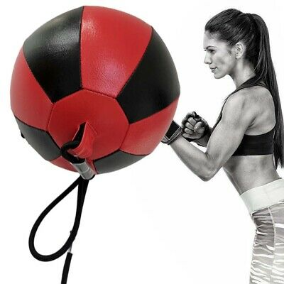 VELO Bean Ball Leather Double End Dodge MMA Boxing Floor to Ceiling Punch Bag