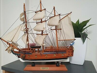Hms Sirius Tall Ship  Boat Completed Handmade Wooden Model Gift Home Decor