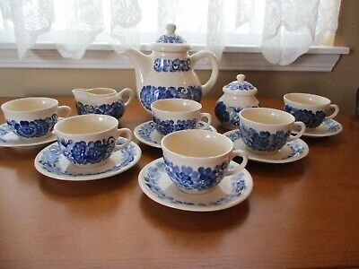 17 pc Poland Hand Painted Blue Floral TEA SET Cups, Saucer, Pot, Creamer, Sugar