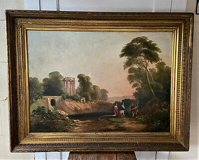 Large Signed Antique Oil on Canvas Painting -Ambrose Andrews -Arcadian Landscape