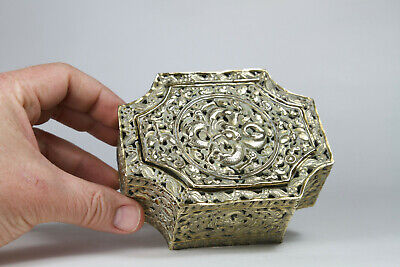 Antique Chinese 19thC Brass Reppouse Pomander Cricket Cage Dragon Butterfly Bat