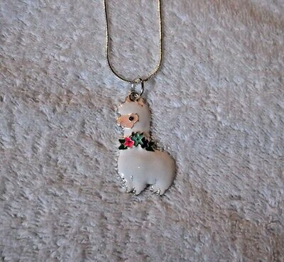 LLAMA ALPACA Unwanted Large Charm Gift NECKLACE White With Floral Collar