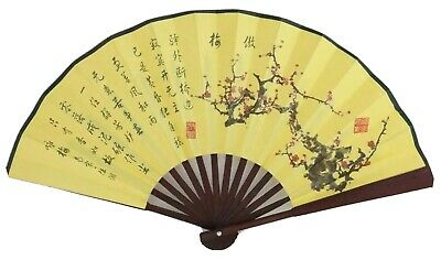 Vintage Hand Painted Silk Oriental Asian Chinese Hand Fan Wooden Handle